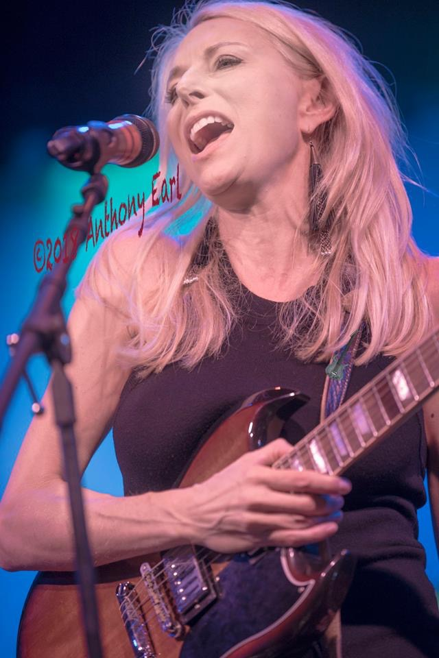 Cass Clayton singing at the Women In Blues Show