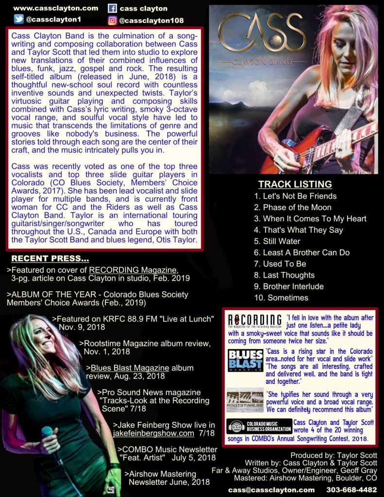Cass Clayton Band Album One Sheet, Album of the Year 2018, CO Blues Society Members' Choice